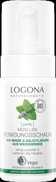 LOGONA Mizellen Reinigungsschaum Bio-Minze & Salicylsäure aus Weidenrinde, 100ml