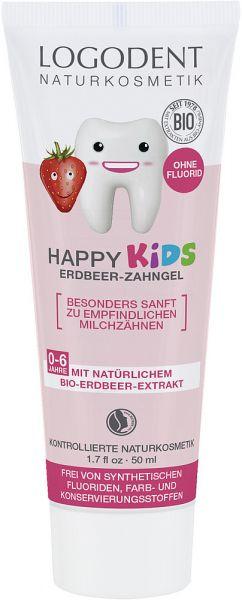 LOGONA Happy Kids Bio Erdbeer Zahngel, 50ml