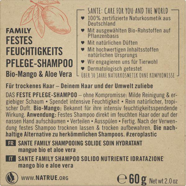 SANTE Festes Feuchtigkeits Pflege-Shampoo Bio-Mango & Aloe Vera, 60g