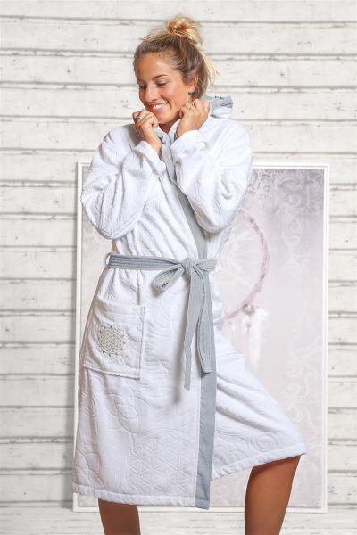 Spirit of OM Bademantel mit Kapuze in weiß aus Bio-Baumwolle Gr. S-XL