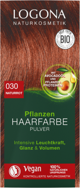 LOGONA Pflanzen-Haarfarbe Pulver 030 naturrot, 100g