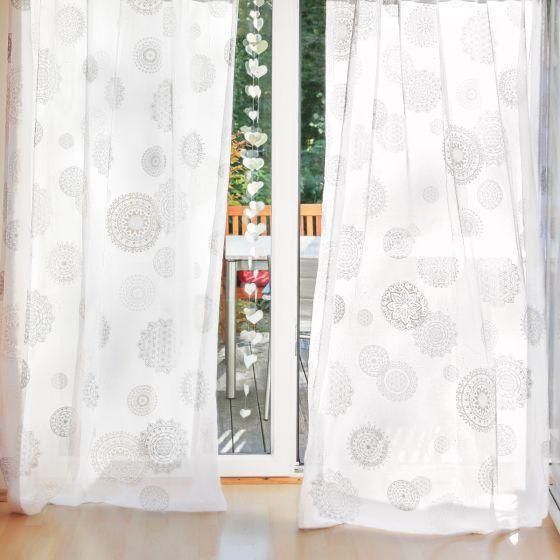 Spirit of OM Bio-Baumwoll Gardine weiß , 145 breit in versch. Längen und Ausführungen
