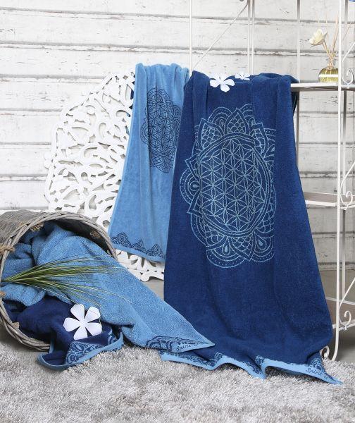 Spirit of OM Frotteetücher aus Bio - Baumwolle ozeanblau - azur in verschiedenen Größen