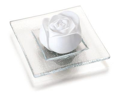 PRIMAVERA Duftstein Rosenblüte auf Glasteller