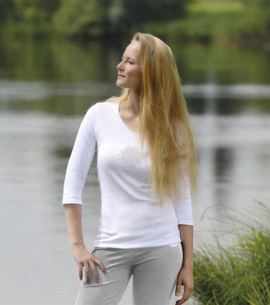 """Spirit of OM Shirt """"Blume des Lebens"""" 3/4 Arm in weiß, Gr. S-XL"""