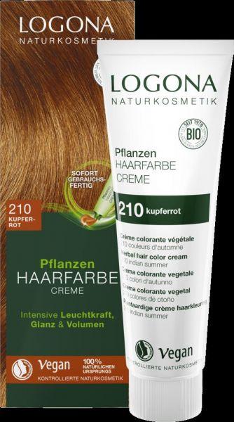 LOGONA Planzen-Haarfarbe Creme 210 kupferrot, 150ml