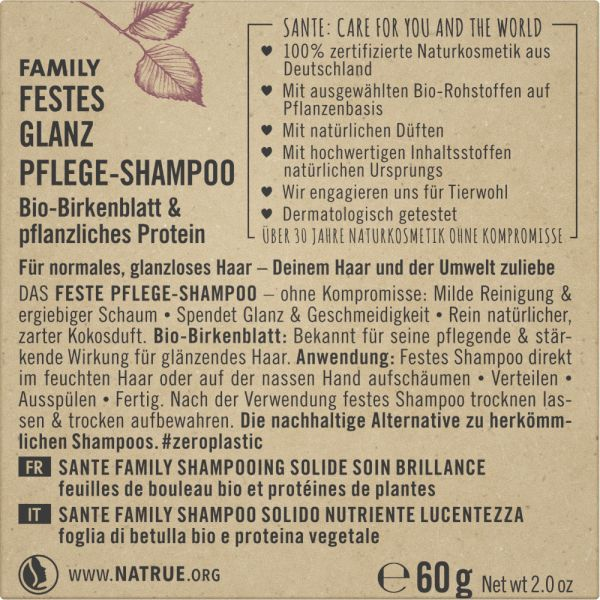 SANTE Festes Glanz Pflege-Shampoo Bio-Birkenblatt & pflanzliches Protein, 60g