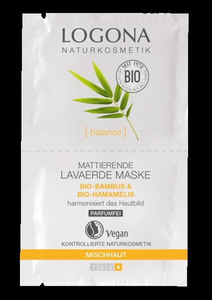 LOGONA mattierende Lavaerde Maske Bio-Bambus & Bio-Hamamelis, 2 x7,5ml