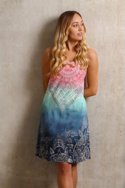 The Spirit of OM Sommerkleid aus BioBaumwolle in indigo-peach XS - XL!
