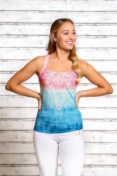 "Spirit of OM Yoga Top Mandala ""indigo - peach"", Gr. XS - XXL"